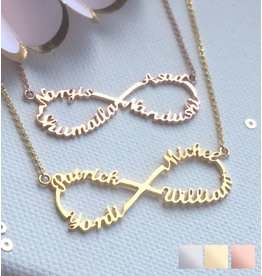 Silver Infinity necklace 'four names' - Copy