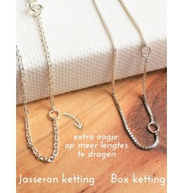KAYA sieraden Silver box chain necklace (various sizes)