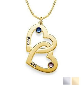 Silver Necklace 'Swarovski Birthstones two hearts'