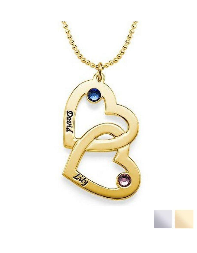 KAYA sieraden Silver Necklace 'Swarovski Birthstones two hearts'
