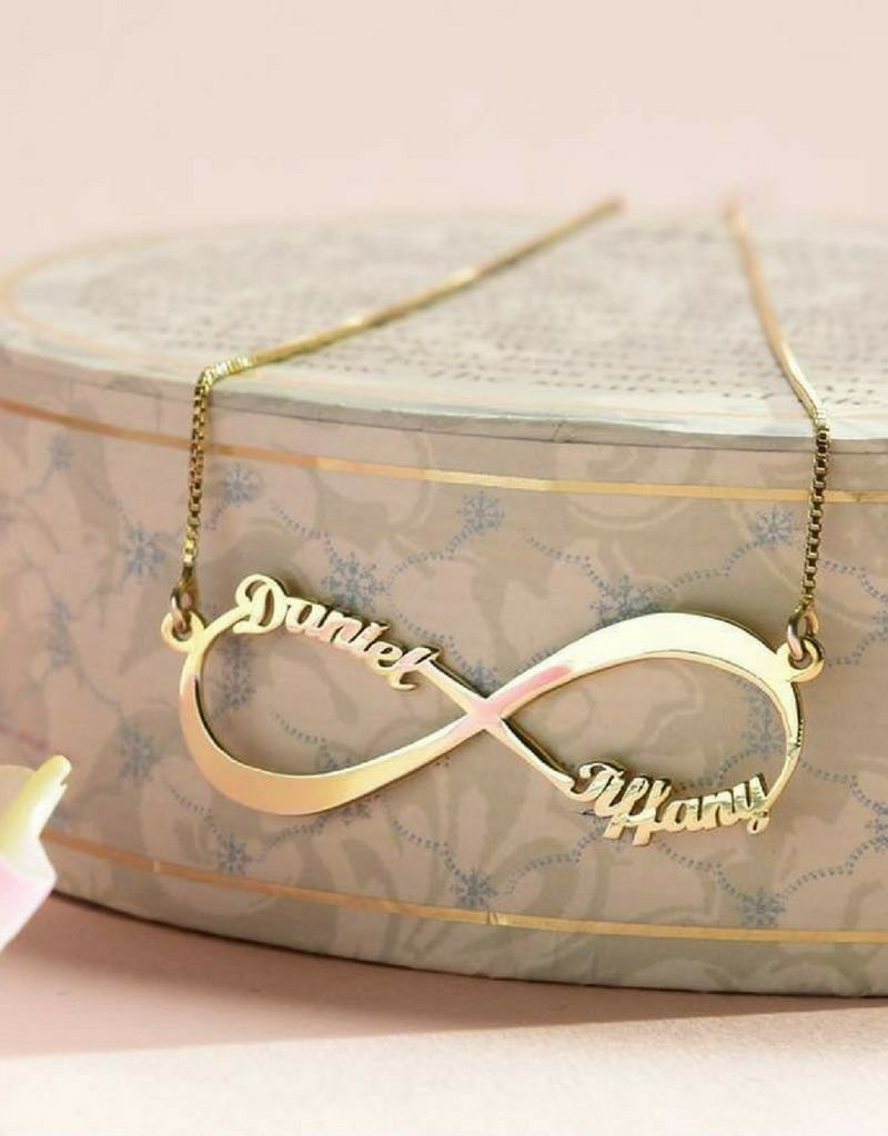 KAYA sieraden Infinity gold plated necklace 'Two names' - Copy