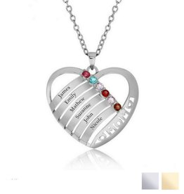 Birthstone necklace 'Family Heart'