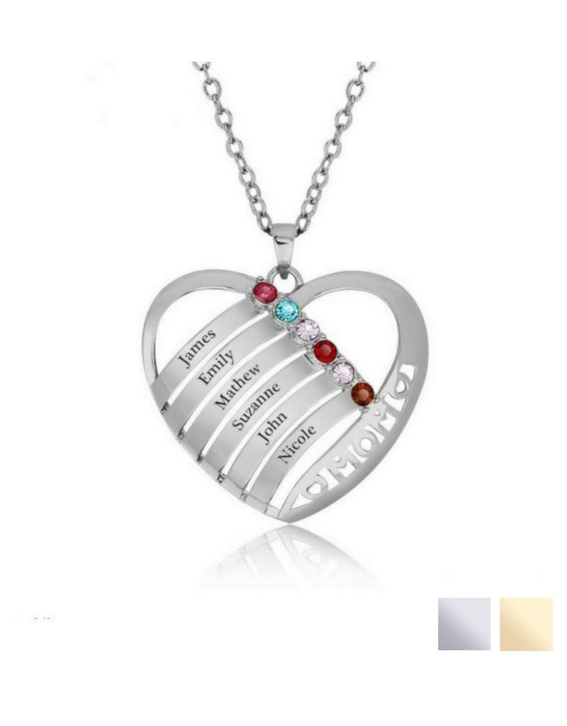 KAYA sieraden Birthstone necklace 'Family Heart'