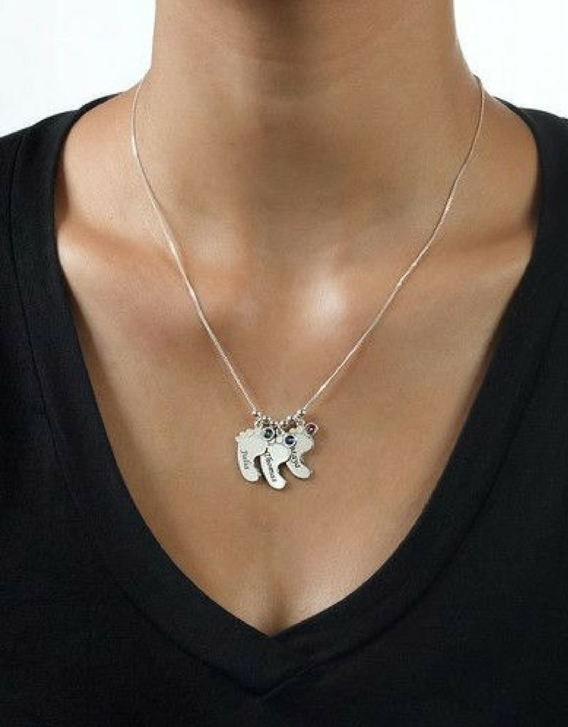 KAYA sieraden Birthstone necklace 'Baby feet'