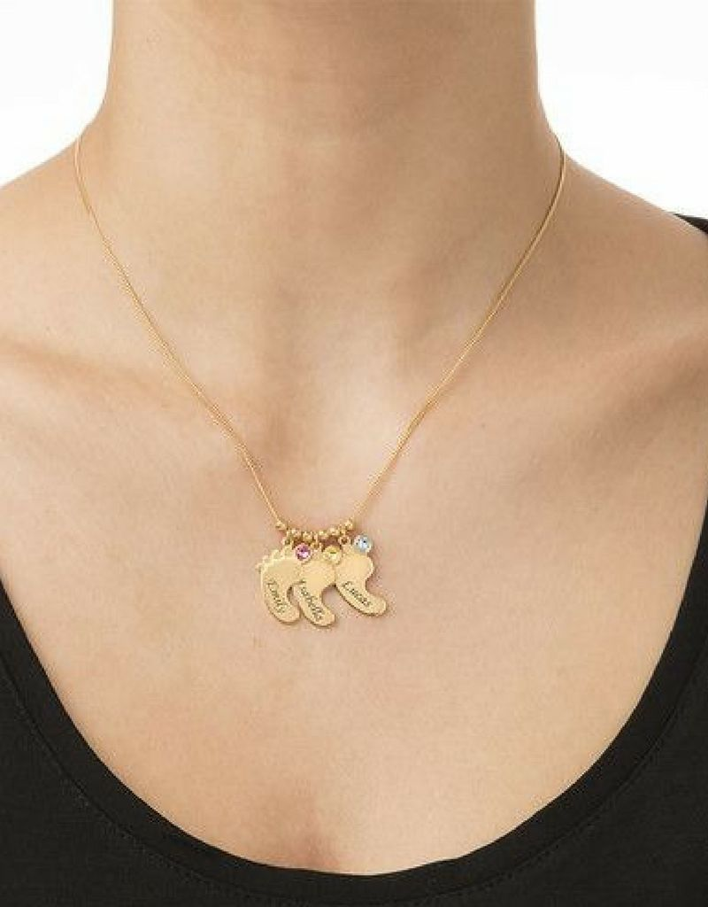 Birthstone necklace 'Baby feet'
