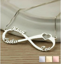 Infinity necklace 'Love my 3 kids'
