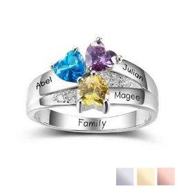 Gepersonaliseerde ring met geboortestenen '3 kids'