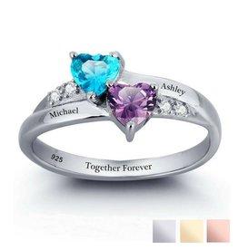 KAYA sieraden Ring 2 namen & Geboortestenen 'onder elkaar'