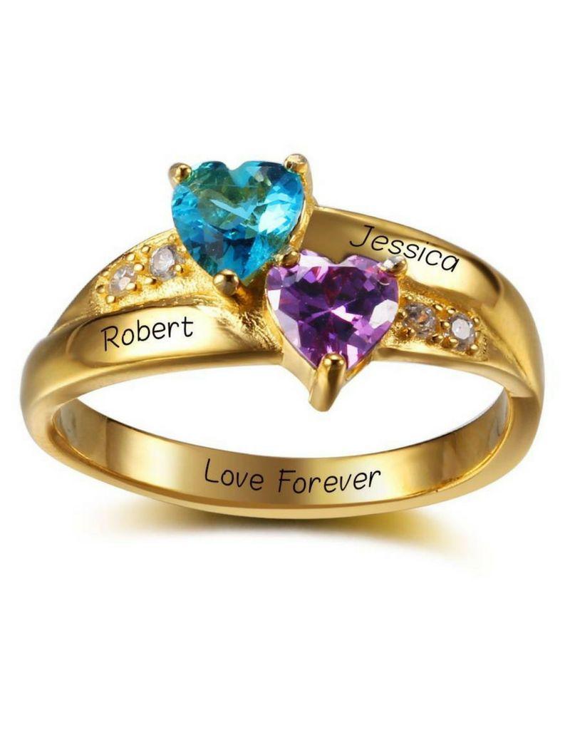 KAYA sieraden Ring met 2 namen + 2 Geboortestenen