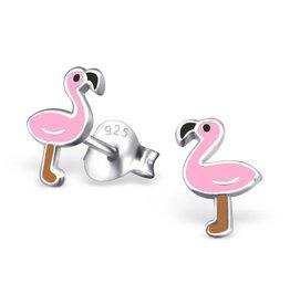 Zilveren kinderoorbellen 'Flamingo'