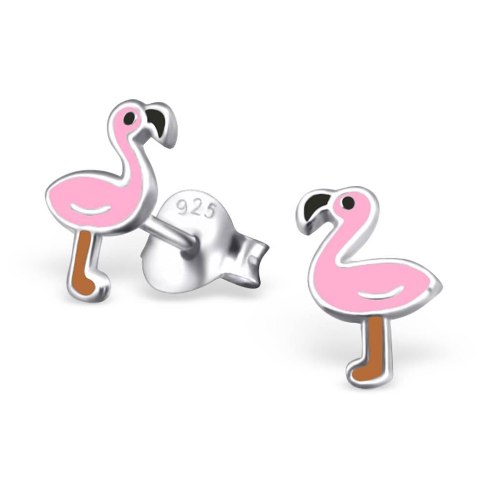 KAYA sieraden Zilveren kinderoorbellen 'Flamingo'