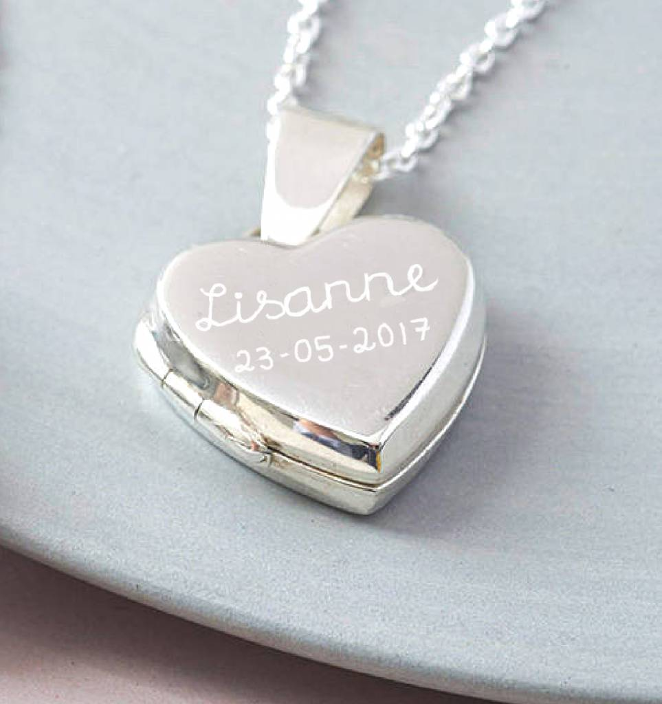 """KAYA sieraden Silver necklace 'Medaillong """"engraved"""