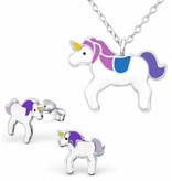 KAYA sieraden Silver Necklace + Earrings 'Unicorn'