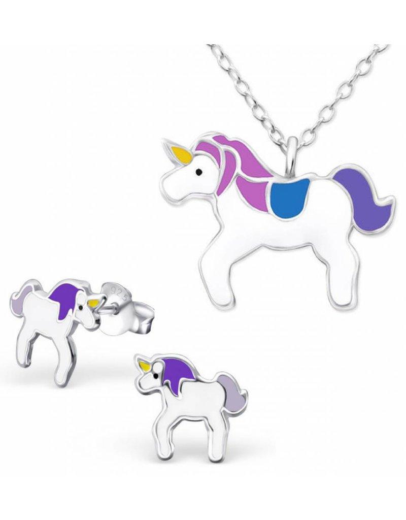 Silver Necklace + Earrings 'Unicorn'