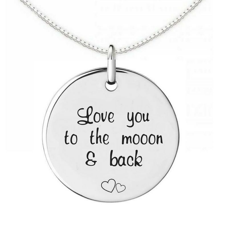 KAYA sieraden Zilveren Ketting 'Love you to the moon and back'
