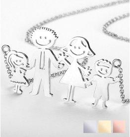 Zilveren ketting Loving Famiy ♥EIGEN TEKENING♥