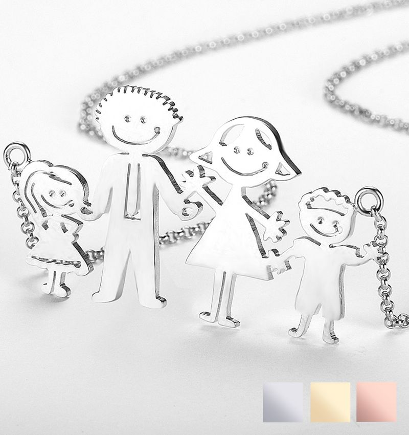 Necklace with children's drawing - silver