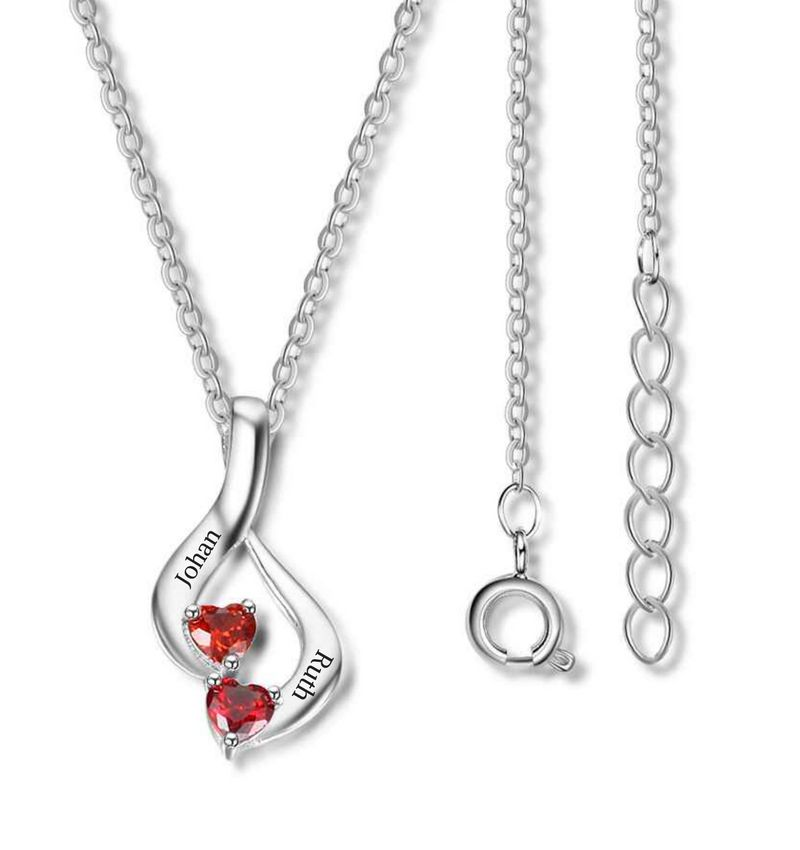 KAYA sieraden Necklace with birth stones 'two hearts'