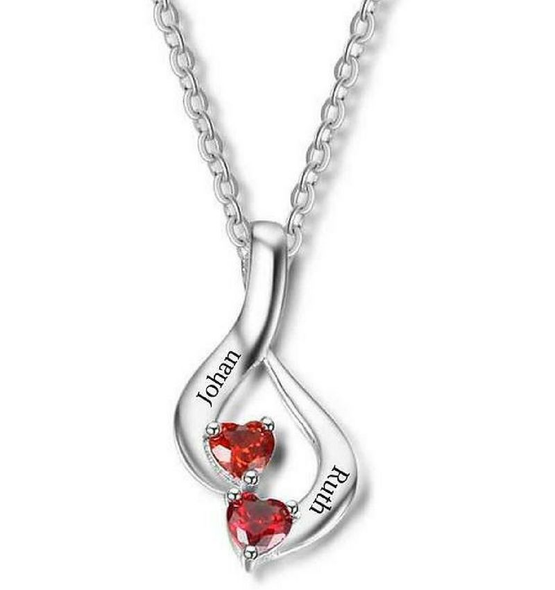 Necklace with birth stones 'two hearts'