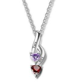 KAYA sieraden Necklace with birth stones 'hearts'
