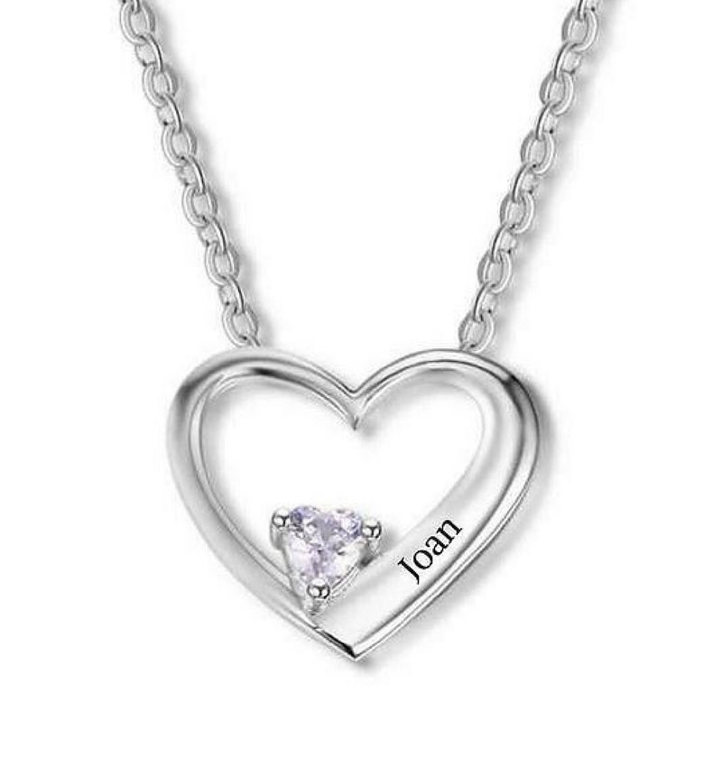 Heart chain with birthstone 'love'