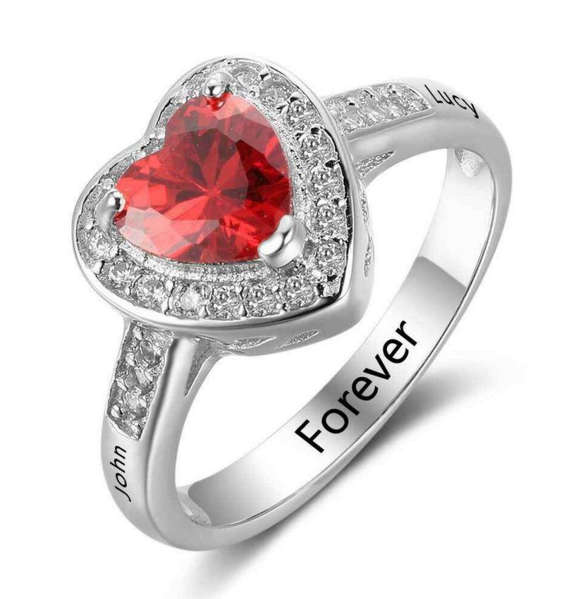 - KAYA sieraden Ring met geboortesteen 'hart'