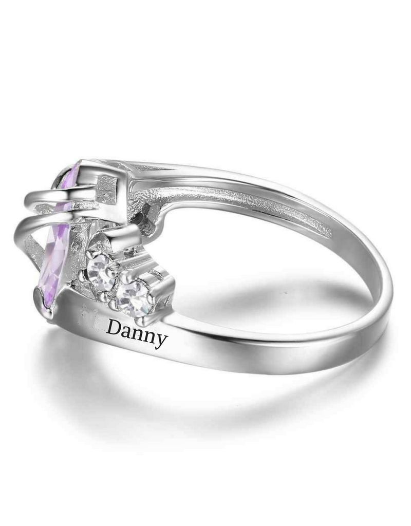 Silver ring with two names 'diamond'