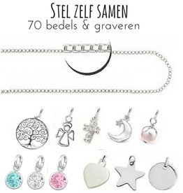 "KAYA sieraden Silver Necklace ""Imagine yourself together '- with graveerbedel option"