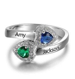 Zilveren ring met twee geboortestenen