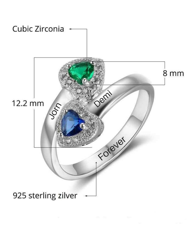 Silver ring with two birth stones 'shiny hearts'