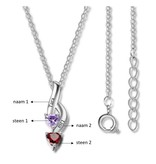 KAYA sieraden Necklace with birth stones 'hearts'