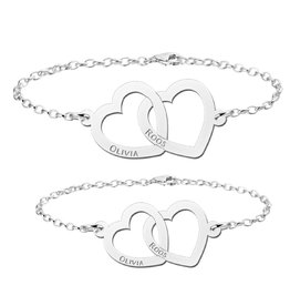 Names4ever mother and daughter bracelets set 'hearts'