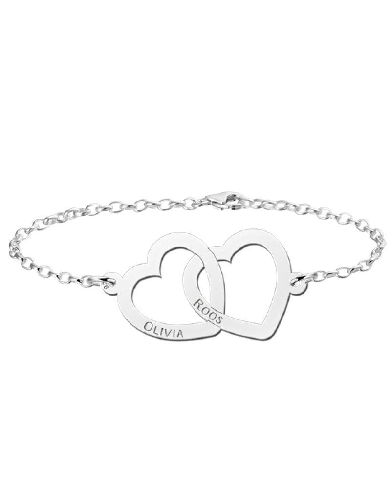Names4ever mother and daughter bracelets set 'hearts'