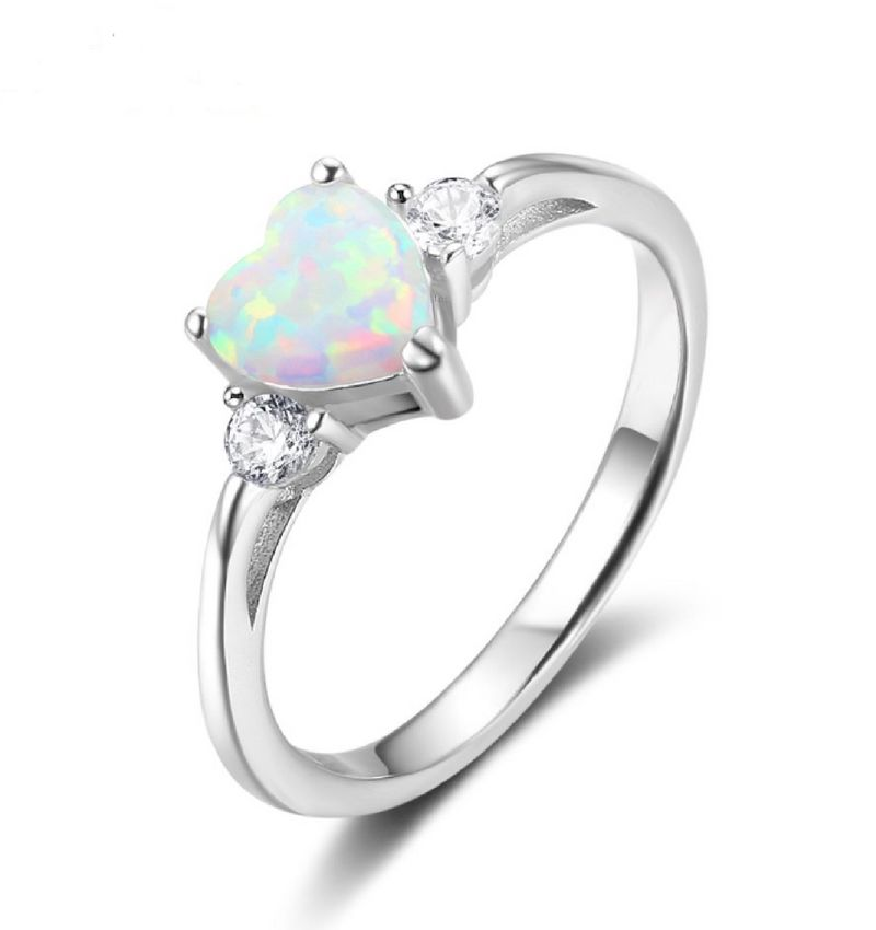 Silver ring with opal stone
