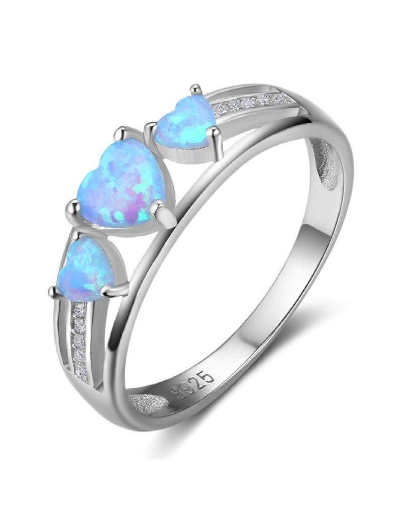 KAYA sieraden Zilveren ring met opaal stenen '3 hearts'