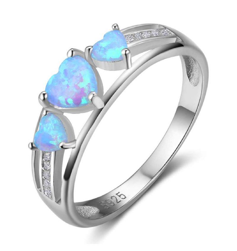 Zilveren ring met opaal stenen '3 hearts'