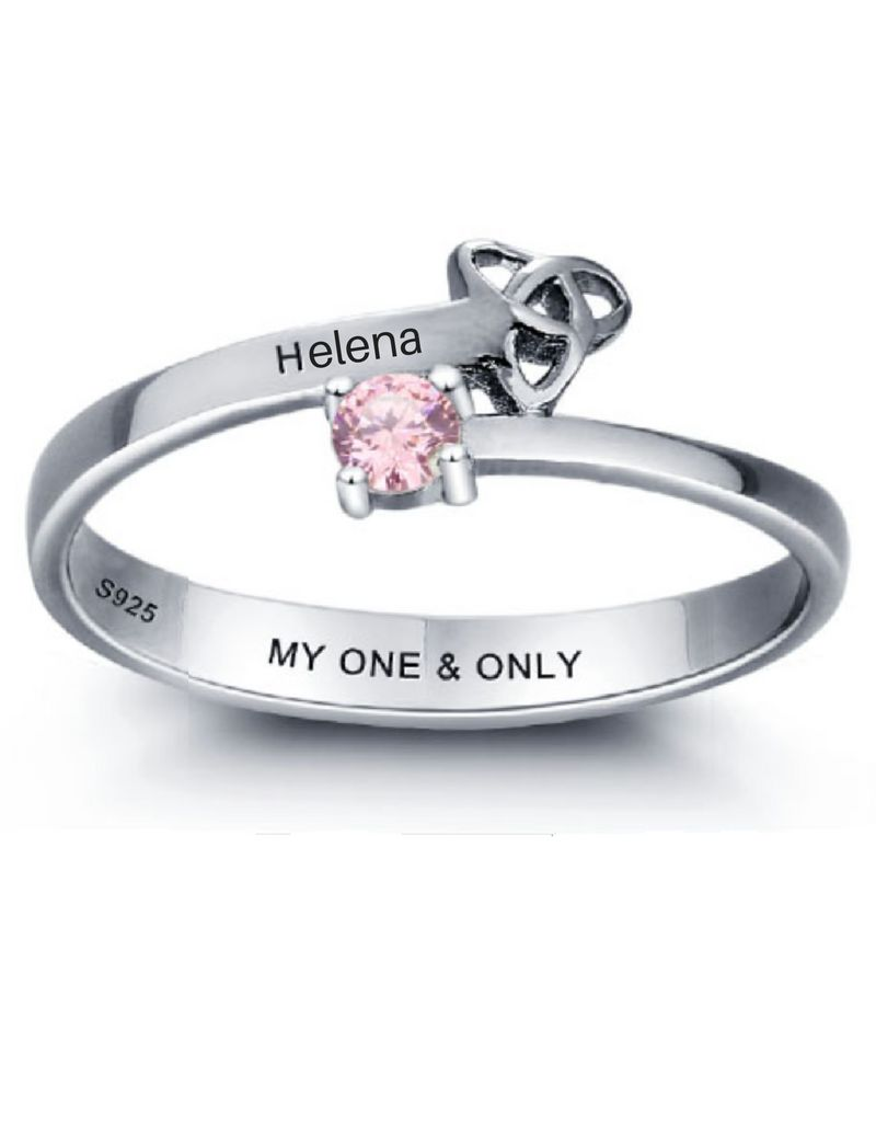 KAYA sieraden Zilveren ring met geboortesteen en naam