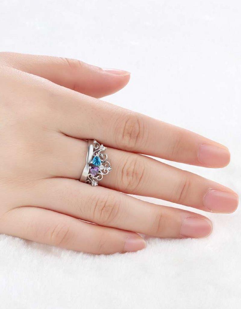 KAYA sieraden Gepersonaliseerde ring met geboortestenen 'forever love'