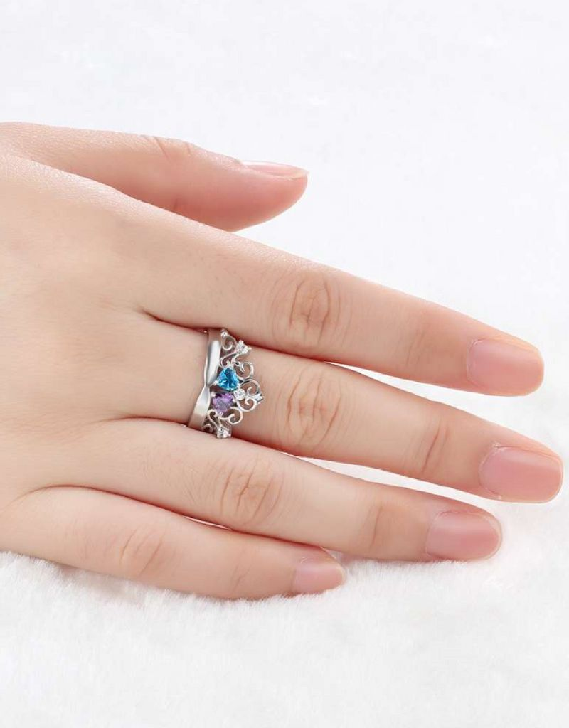 KAYA sieraden Personalized ring with birth stones 'forever love'