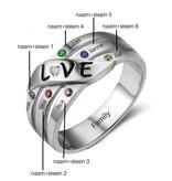 Ring met 6 geboortestenen 'love'
