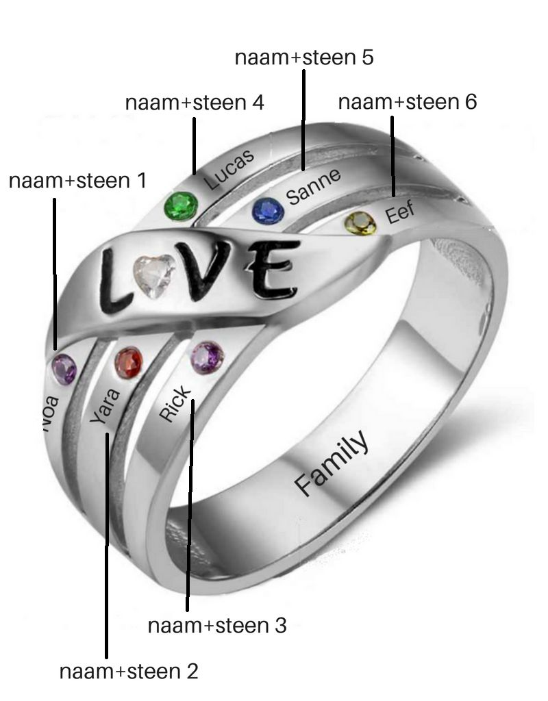 KAYA sieraden Call with 6 birthstones 'love'