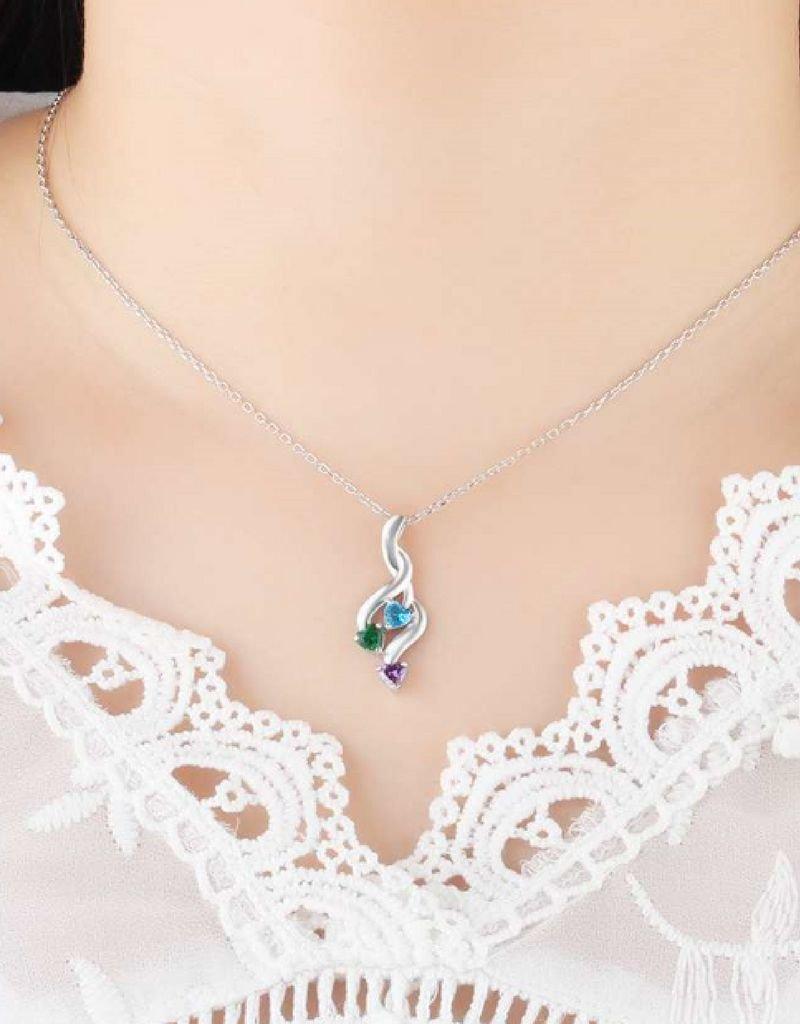 KAYA sieraden Necklace with birth stones 'three hearts' - Copy