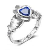 Silver ring with birthstone 'claddagh symbol'