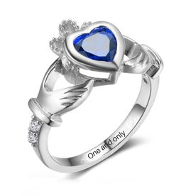 KAYA sieraden Silver ring with birthstone 'claddagh symbol'