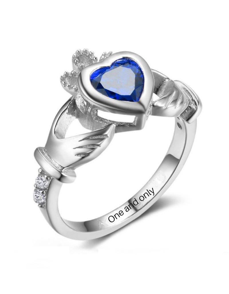 KAYA sieraden Silver ring with birthstone 'claddagh symbol'
