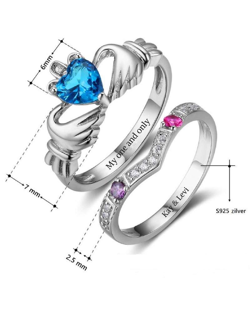 KAYA sieraden Silver rings with birth stones 'claddagh'