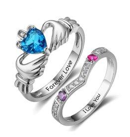 KAYA sieraden Zilveren ringen met geboortestenen 'claddagh'