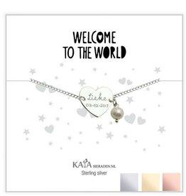 KAYA sieraden Cadeaudoosje met Zilveren graveerarmband 'Welcome to the world' met Parel
