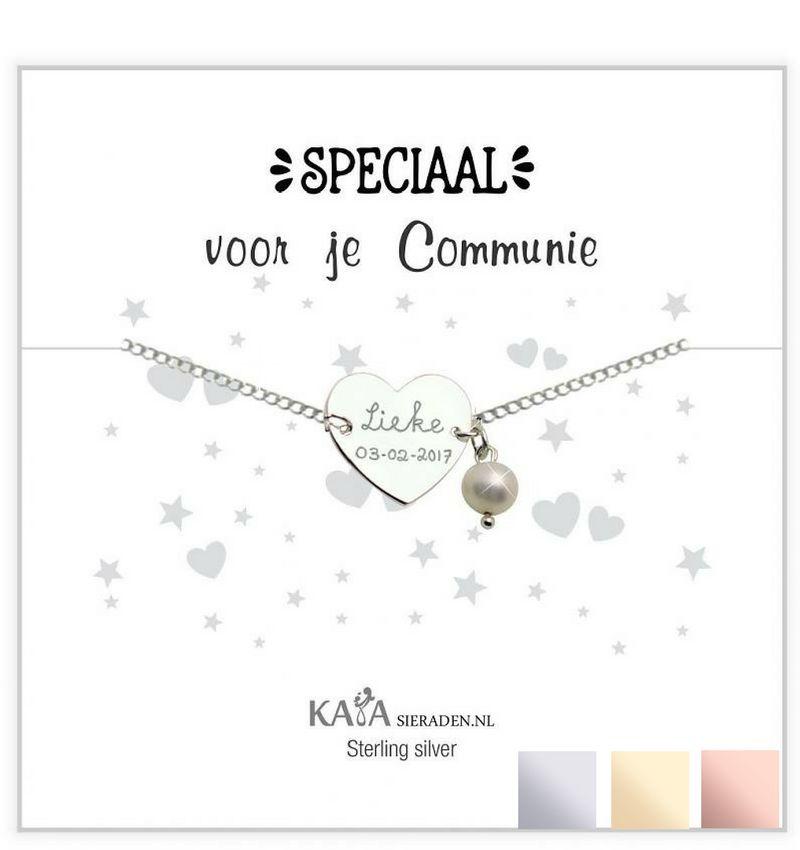 Cadeaudoosje met Zilveren graveerarmband ' Speciaal voor je communie' met Parel