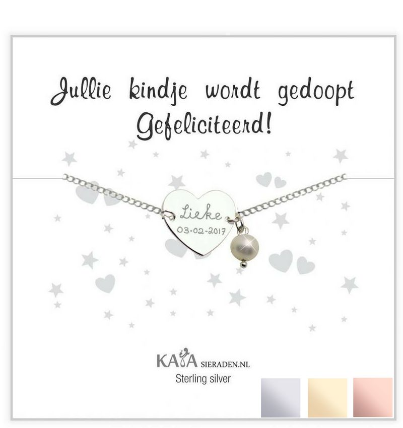 KAYA sieraden Silver graveerarmband You have been baptized, congratulations' with Pearl